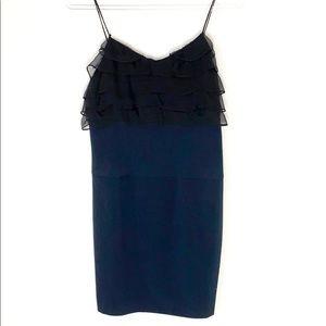Black Halo Cee Cee black blue ruffle bodycon dress